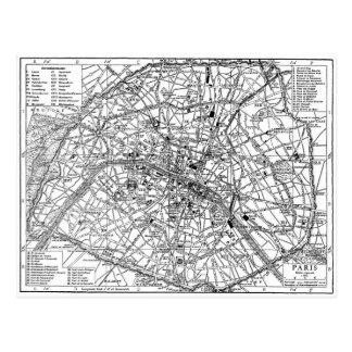 Mapa del vintage de París (1911) Tarjetas Postales