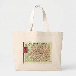 Mapa del vintage de París (1920) Bolsa Tela Grande