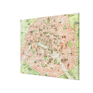 Mapa del vintage de París (1920) Impresion De Lienzo