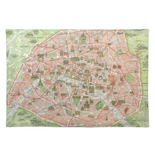 Mapa del vintage de París (1920) Mantel Individual