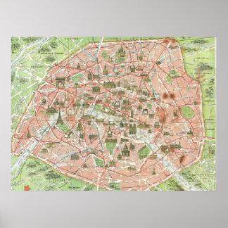 Mapa del vintage de París (1920) Poster