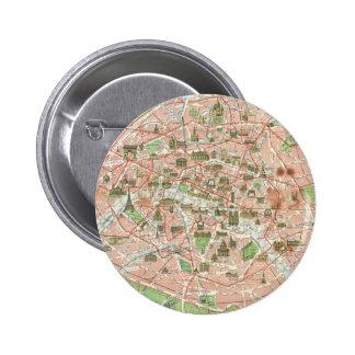 Mapa del vintage de París (1920) Pin Redondo De 2 Pulgadas