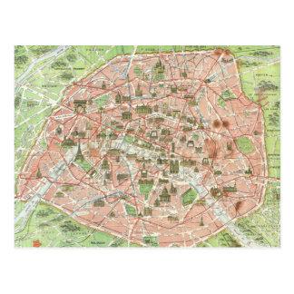 Mapa del vintage de París 1920 Postales