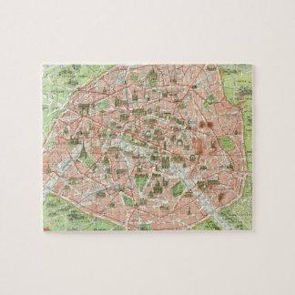 Mapa del vintage de París (1920) Rompecabeza Con Fotos