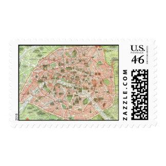 Mapa del vintage de París 1920