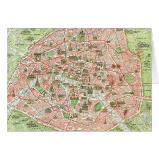 Mapa del vintage de París (1920) Felicitaciones