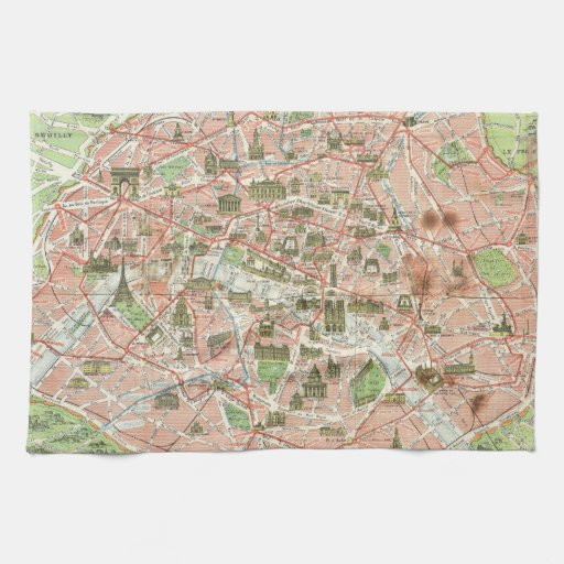 Mapa del vintage de París (1920) Toalla De Cocina