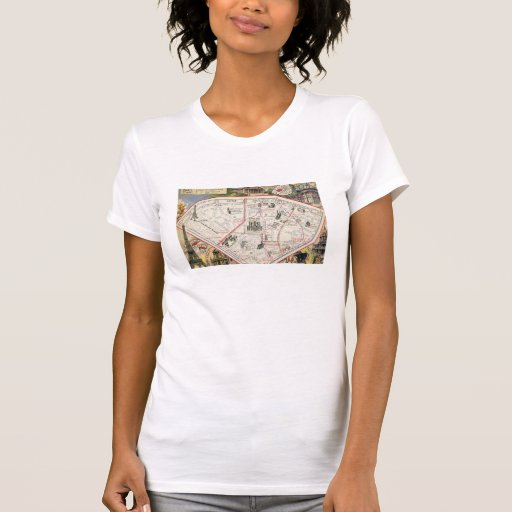 Mapa del vintage de París Camisetas