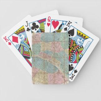 Mapa del vintage de París Francia (1867) Baraja Cartas De Poker