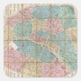 Mapa del vintage de París Francia 1867 Pegatinas Cuadradas Personalizadas