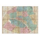 Mapa del vintage de París Francia (1867) Postal
