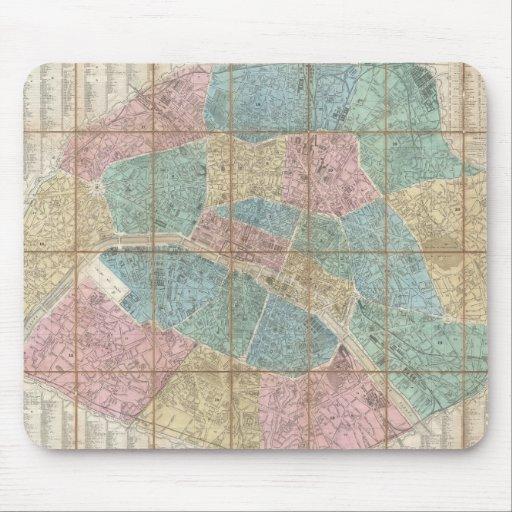Mapa del vintage de París Francia (1867) Tapetes De Ratones