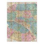 Mapa del vintage de París Francia (1867) Tarjetas Postales