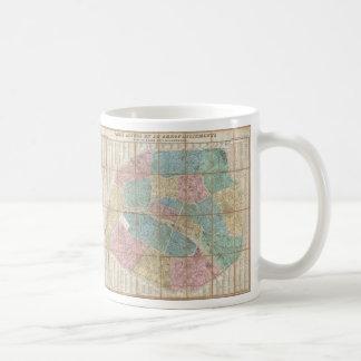 Mapa del vintage de París Francia 1867 Tazas De Café