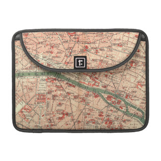 Mapa del vintage de París Francia 1910 Fundas Macbook Pro