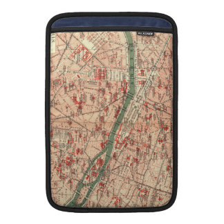 Mapa del vintage de París Francia (1910) Fundas MacBook