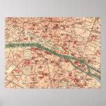 Mapa del vintage de París Francia (1910) Posters