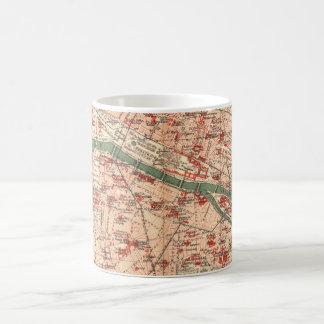 Mapa del vintage de París Francia 1910 Taza