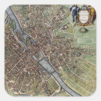 Mapa del vintage de París Calcomanias Cuadradas