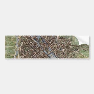 Mapa del vintage de París Pegatina De Parachoque