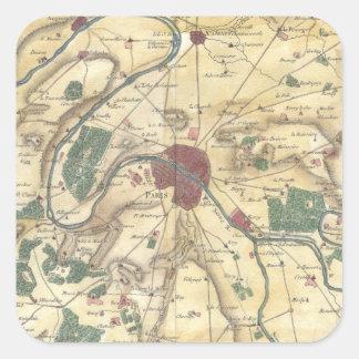 Mapa del vintage de París y de los alrededores 17 Calcomanía Cuadradas Personalizadas