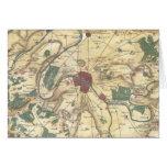 Mapa del vintage de París y de los alrededores (17 Tarjeton