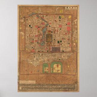 Mapa del vintage de Pekín China (1914) Póster
