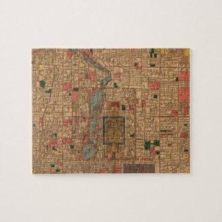 Mapa del vintage de Pekín China (1914) Puzzles Con Fotos