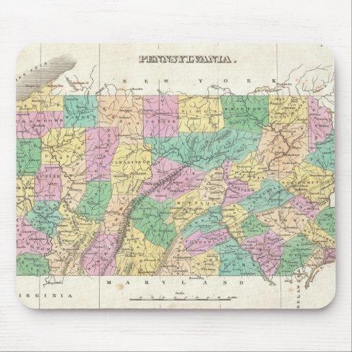 Mapa del vintage de Pennsylvania (1827) Alfombrillas De Ratón