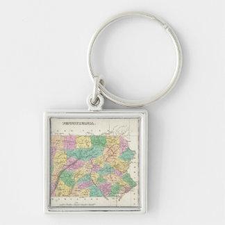 Mapa del vintage de Pennsylvania (1827) Llavero Cuadrado Plateado