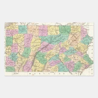 Mapa del vintage de Pennsylvania (1827) Pegatina Rectangular