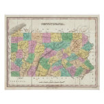 Mapa del vintage de Pennsylvania (1827) Poster