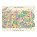Mapa del vintage de Pennsylvania (1827) Tarjeta Postal