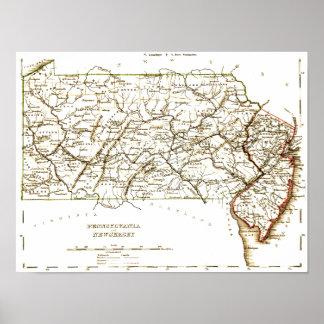 Mapa del vintage de Pennsylvania+NJ 1875 Póster