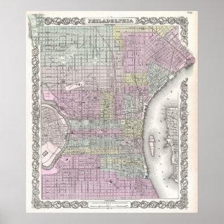 Mapa del vintage de Philadelphia (1855) Poster