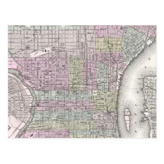 Mapa del vintage de Philadelphia (1855) Tarjetas Postales