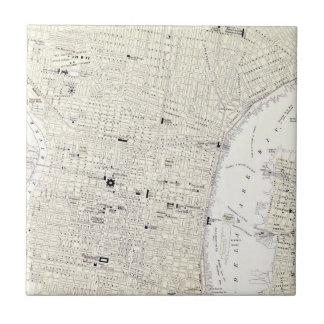 Mapa del vintage de Philadelphia (1885) Azulejo Cuadrado Pequeño