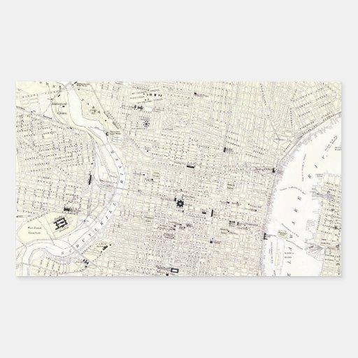 Mapa del vintage de Philadelphia (1885) Pegatina Rectangular