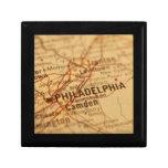 Mapa del vintage de Philadelphia Caja De Recuerdo