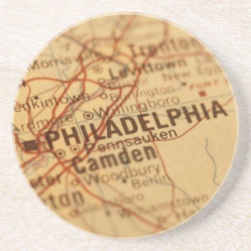 Mapa del vintage de Philadelphia Posavasos Cerveza