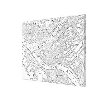 Mapa del vintage de Pittsburgh (1885) Lienzo Envuelto Para Galerías