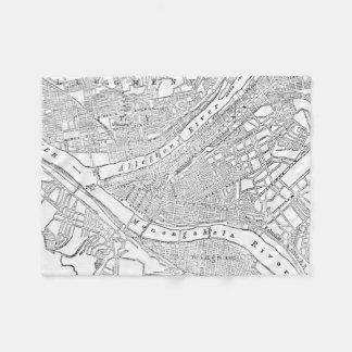 Mapa del vintage de Pittsburgh (1885) Manta De Forro Polar