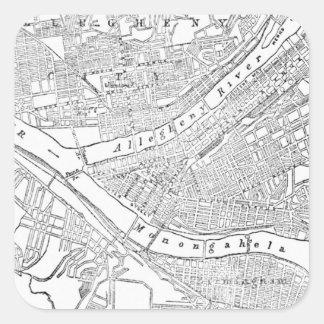 Mapa del vintage de Pittsburgh (1885) Pegatina Cuadrada