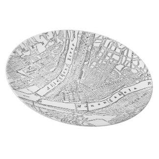 Mapa del vintage de Pittsburgh (1885) Plato De Cena