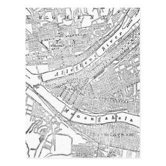 Mapa del vintage de Pittsburgh (1885) Postales
