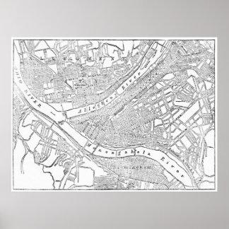 Mapa del vintage de Pittsburgh (1885) Póster