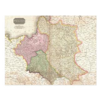 Mapa del vintage de Polonia 1818 Postal