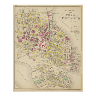 Mapa del vintage de Portsmouth NH (1892) Póster
