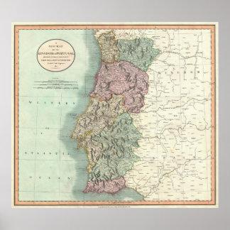 Mapa del vintage de Portugal (1801) Poster