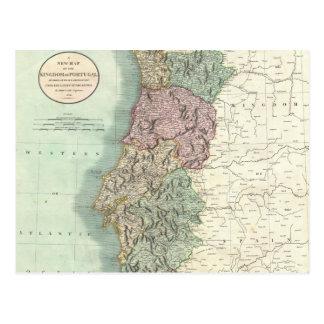Mapa del vintage de Portugal (1801) Tarjetas Postales